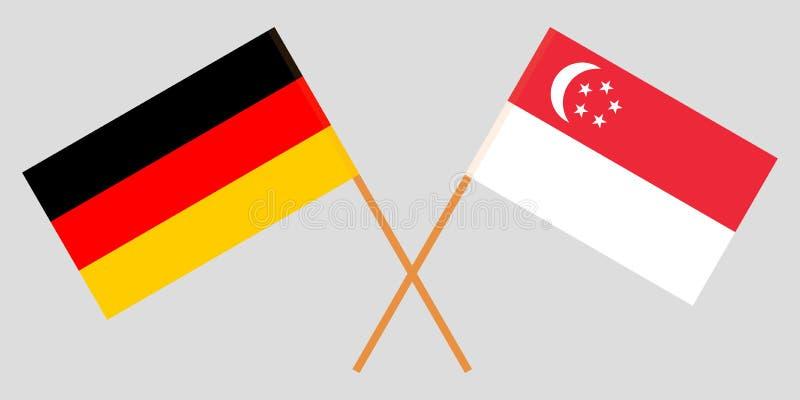 Singapour et l'Allemagne Les drapeaux singapouriens et allemands Couleurs officielles Proportion correcte Vecteur illustration libre de droits