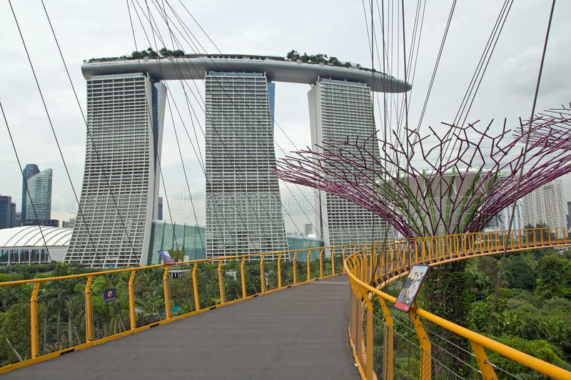 Singapour, jardins par la baie, skyway photographie stock