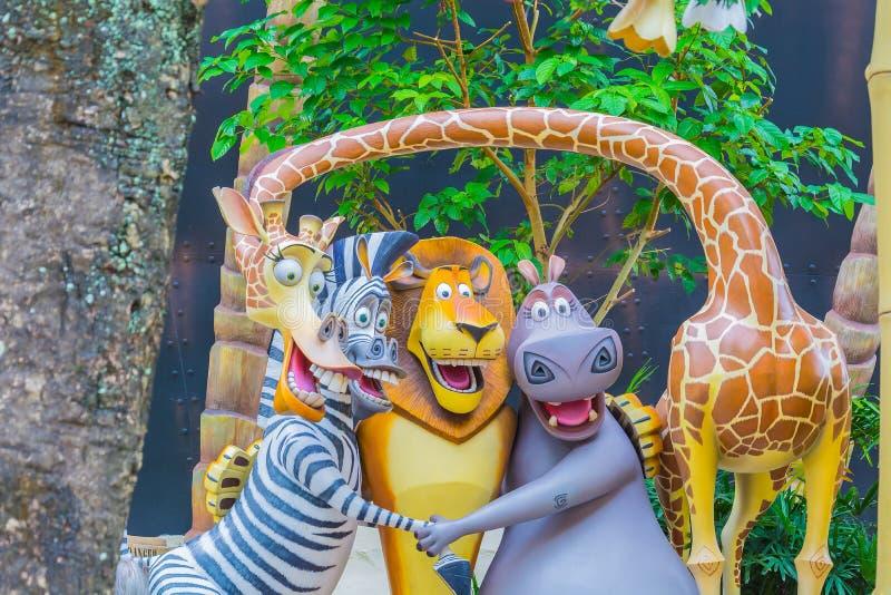 SINGAPOUR - 20 juillet 2015 : Touristes et visiteurs Attra de parc à thème illustration libre de droits