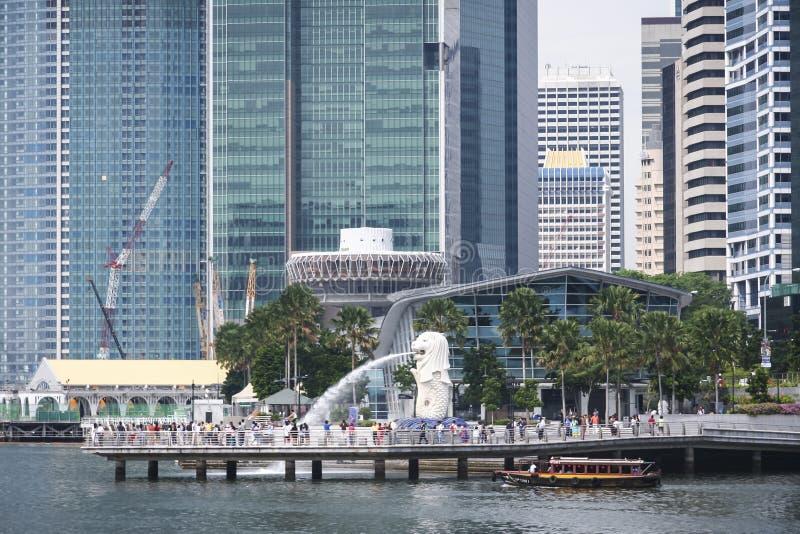 Marina de rivière de Singapour de fontaine de Merlion photos libres de droits