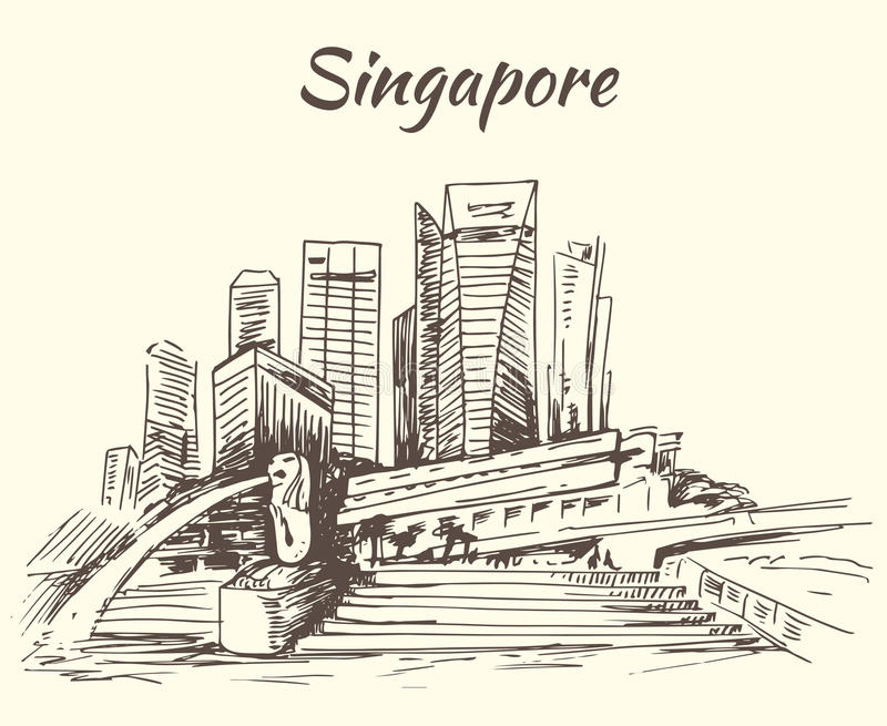 Singapour Marina Bay et Merlion illustration stock
