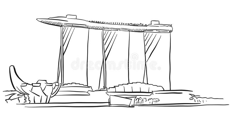 Singapour Marina Bay Outline Sketch illustration stock