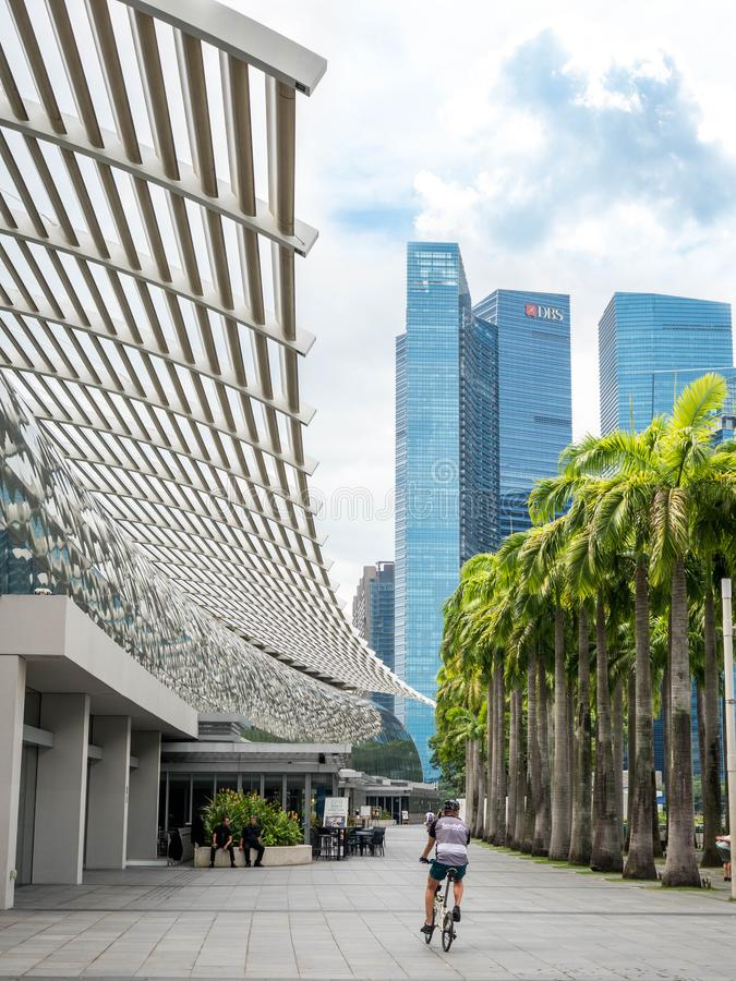 Singapour - 24 NOVEMBRE 2018 : Construisant dans les jardins de parc par la baie, d?me Singapour de fleur images libres de droits