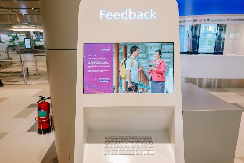 SINGAPOUR - 22 NOVEMBRE 2018 : la fin a tiré du kiosque de retour dans l'aéroport de Singapour Changi L'aéroport de Changi est un image stock