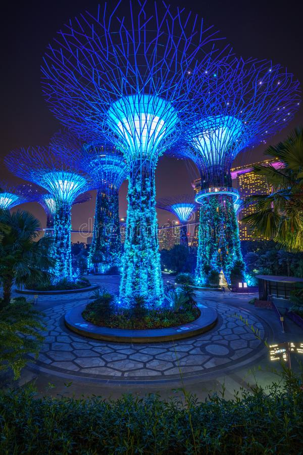 Singapour - 16 octobre 2018 : supertrees devant des sables de baie de marina dans les jardins de la baie la nuit photographie stock libre de droits