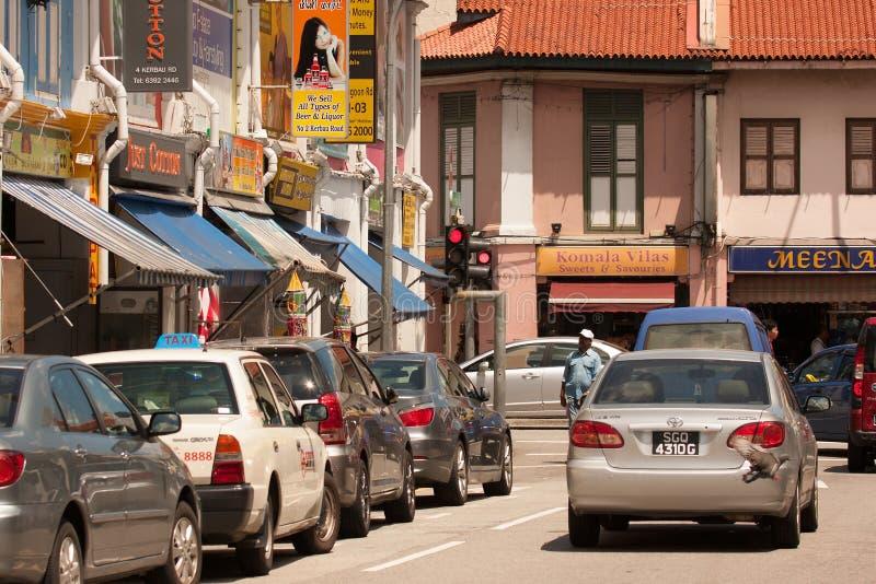 Singapour Peu d'Inde - mars 2008 La rue serrée et étroite dans peu d'Inde images libres de droits
