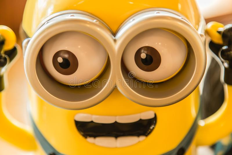 Singapour 10 SEPTEMBRE 2017 : vue jaune de plan rapproché de visage de jouet de chiffre de subordonnés de couleur photo stock