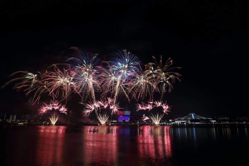 Singapur święta państwowego fajerwerki 2016 3 zdjęcie stock