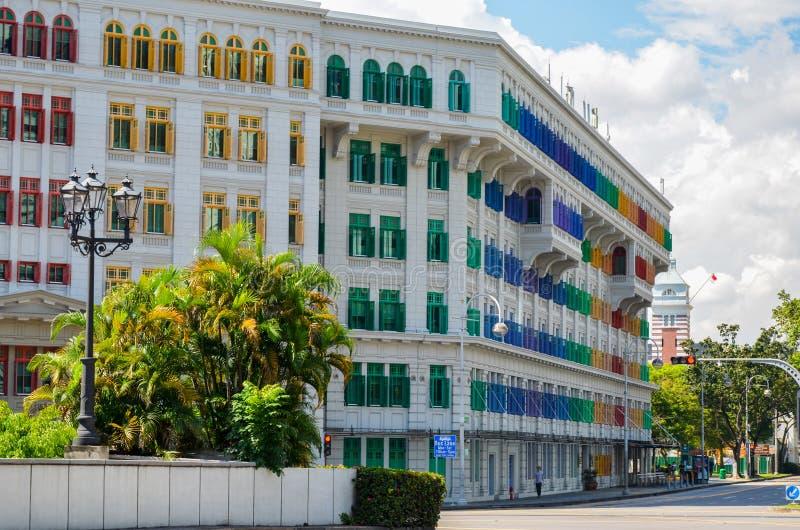 Singapur, abril de 2017: El Ministerio de información, comunicación y el edificio de la MICA de los artes en Singapur imagen de archivo libre de regalías