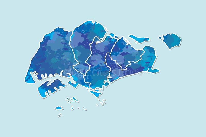 Singapur-Aquarellkarten-Vektorillustration der blauen Farbe mit Grenzen von verschiedenen Regionen auf hellem Hintergrund unter V stock abbildung