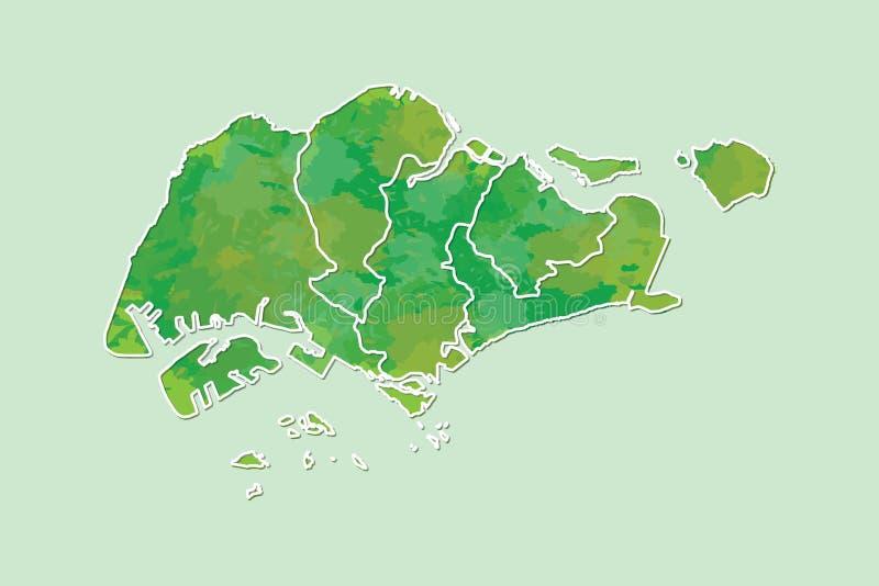 Singapur-Aquarellkarten-Vektorillustration der grünen Farbe mit Grenzen von verschiedenen Regionen auf hellem Hintergrund unter V stock abbildung