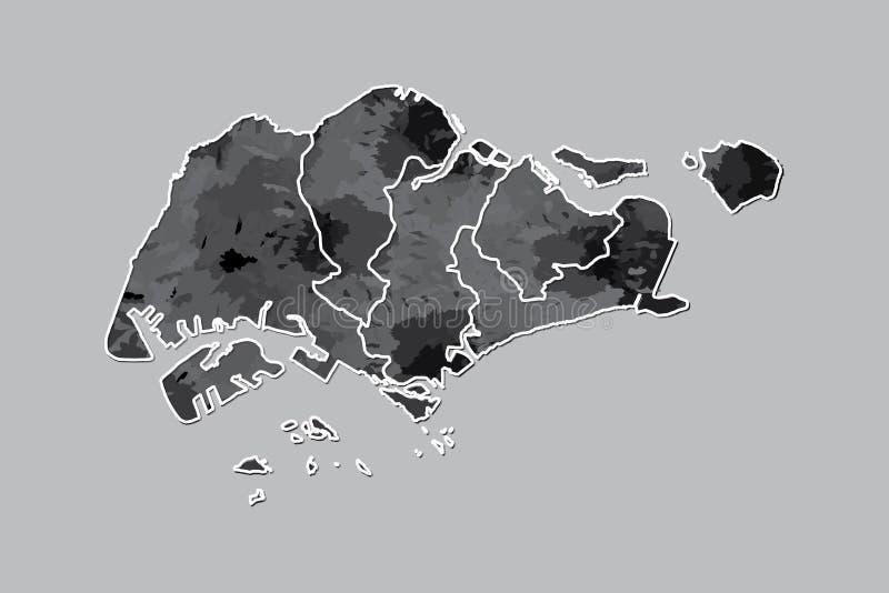 Singapur-Aquarellkarten-Vektorillustration der schwarzen Farbe mit Grenzen von verschiedenen Regionen auf hellem Hintergrund unte lizenzfreie abbildung