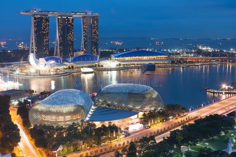 Singapur bis zum Nacht lizenzfreie stockfotografie