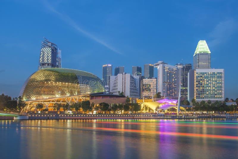 Singapur céntrico en la salida del sol, Singapur imagen de archivo