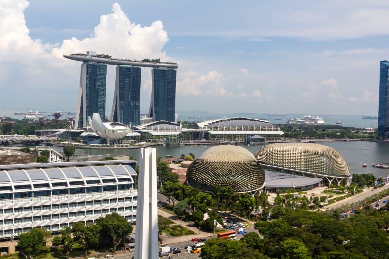 Singapur céntrico, teatros de la explanada en la bahía, Marina Bay Sa foto de archivo libre de regalías