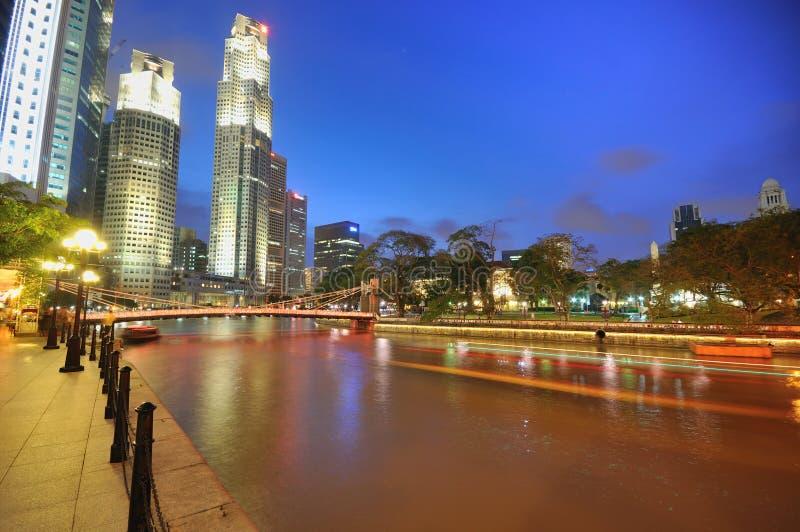 Singapur CBD en la noche imagen de archivo libre de regalías