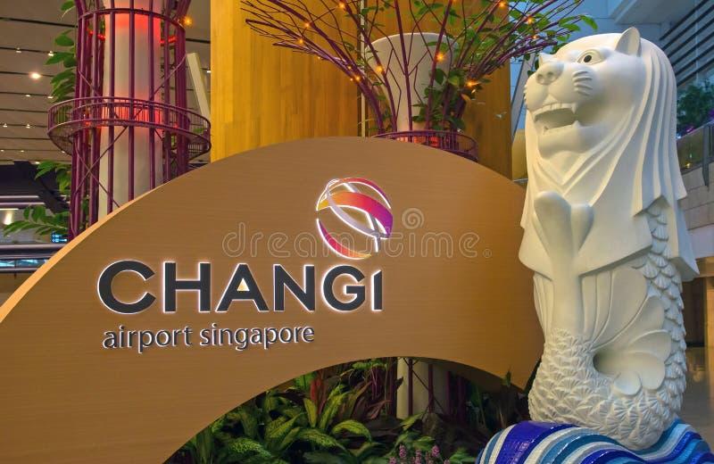 Singapur Changi lotniska Signage obraz royalty free