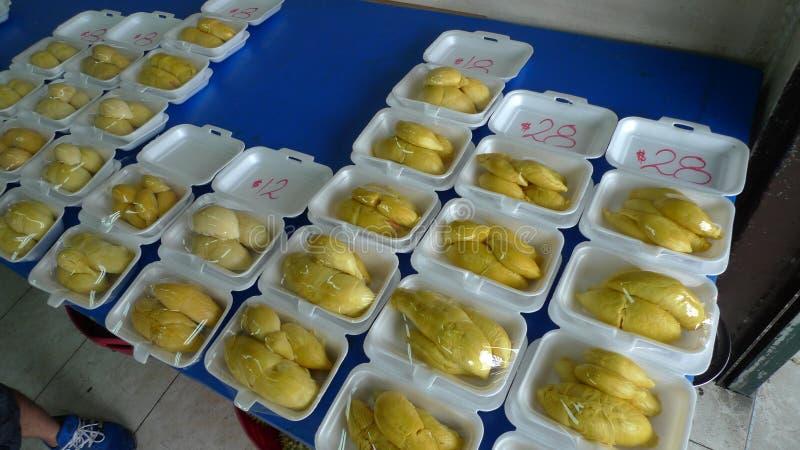 Singapur Chinatown Durian Wszystko ty możesz jeść durian bufet obraz stock