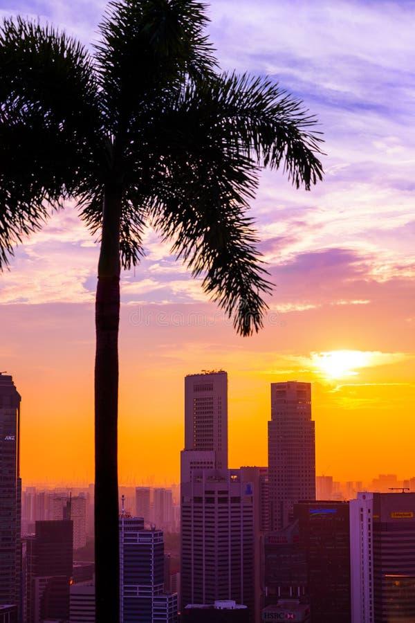 SINGAPUR - 14 DE ABRIL: Horizonte y Marina Bay de la ciudad de Singapur en A imagen de archivo libre de regalías