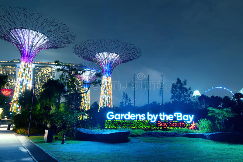 SINGAPUR - 1 DE ENERO DE 2014: Jardines por la bahía o la arboleda de SuperTree imágenes de archivo libres de regalías