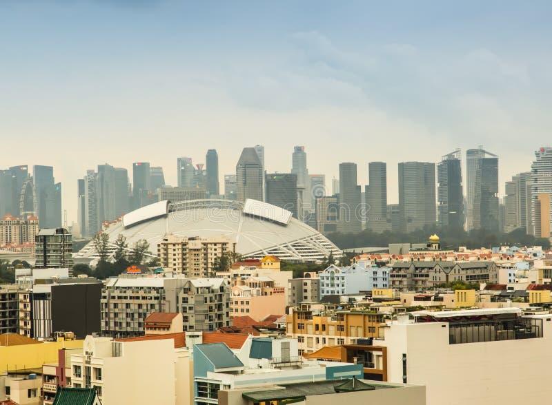 SINGAPUR 19 DE JUNIO DE 2017: Horizonte hermoso del ?rea central de Singapur fotografía de archivo libre de regalías