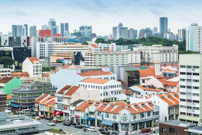 SINGAPUR 24 DE JUNIO DE 2017: Opini?n a?rea del paisaje urbano del ?rea de la herencia de Singapur fotos de archivo libres de regalías