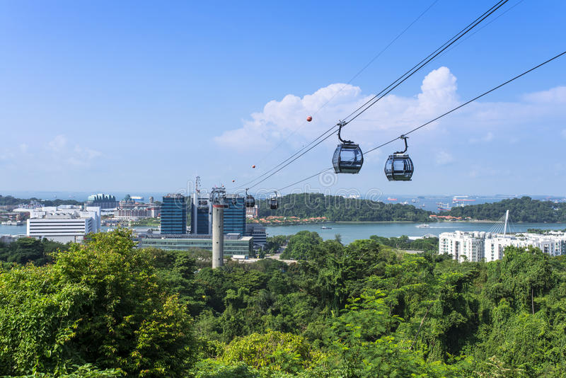 Singapur-Drahtseilbahn lizenzfreies stockbild