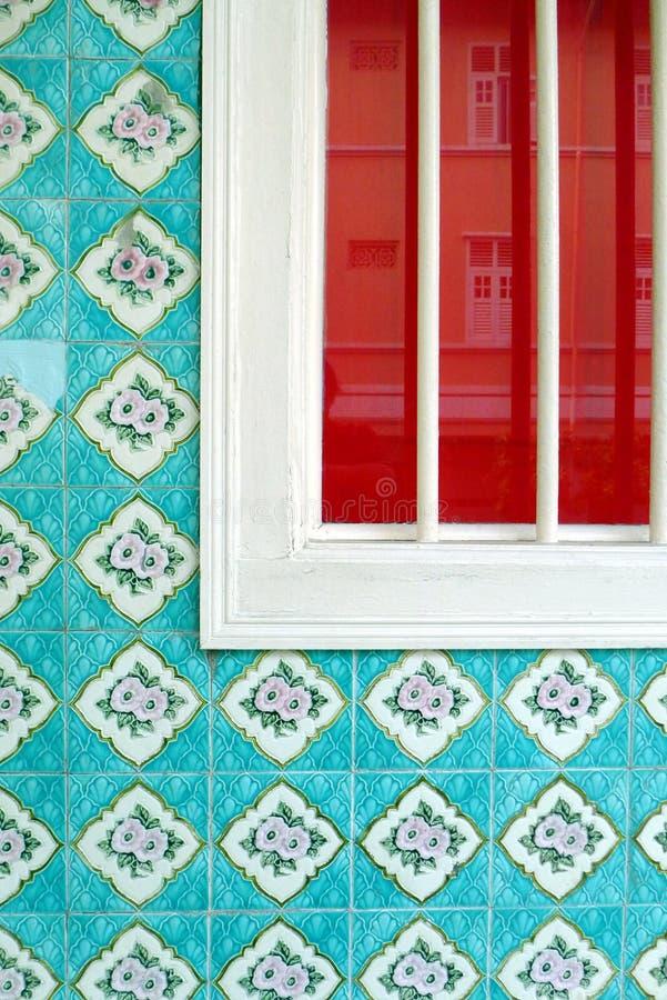 Singapur dziedzictwa domu porcelanowi grodzcy szczegóły fotografia stock