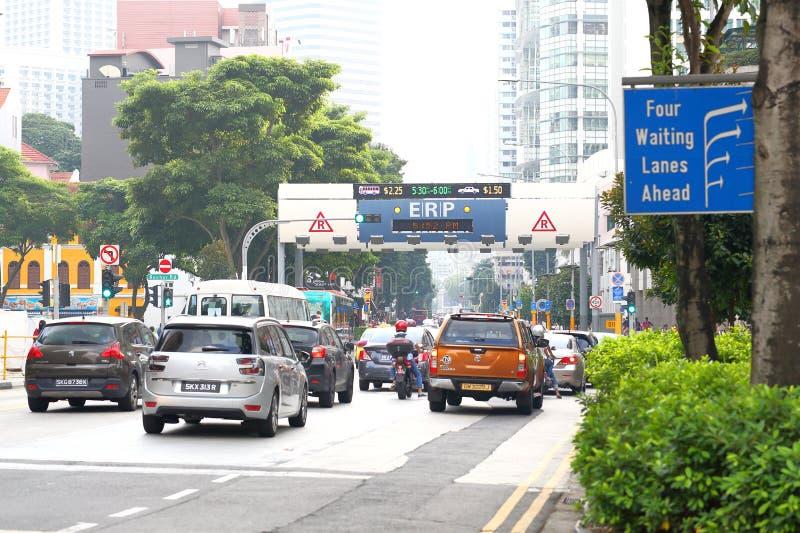 Singapur: Elektronische Straßen-Preiskalkulation stockfotografie