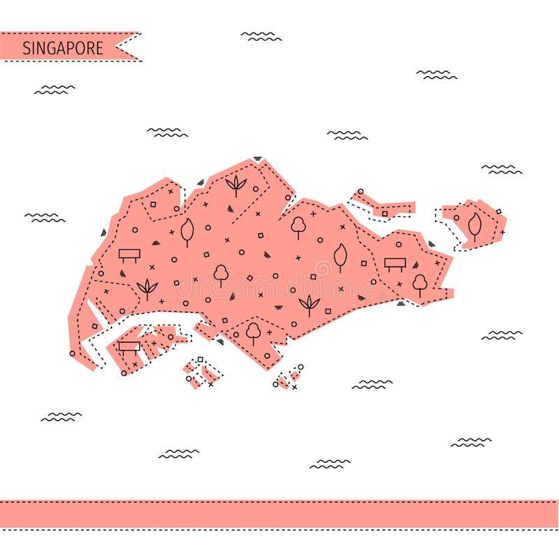 Singapur führte Karte in der flachen Linie Art einzeln auf lizenzfreie stockfotos