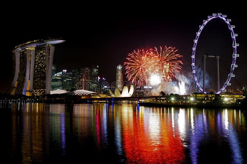 Singapur fajerwerki fotografia stock