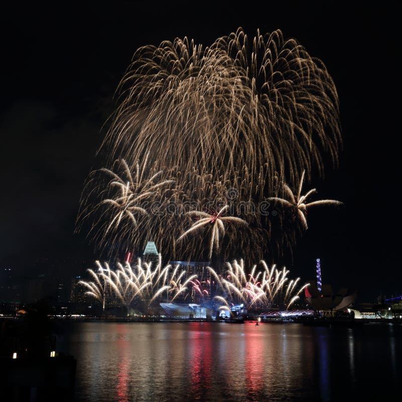 Singapur fajerwerki 2017 4 zdjęcie stock
