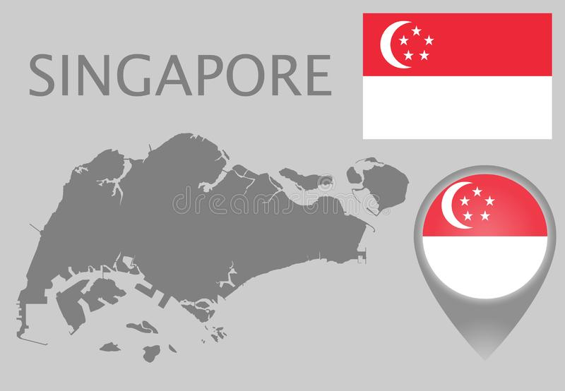 Singapur-Flagge, leere Karte und Kartenzeiger lizenzfreie abbildung