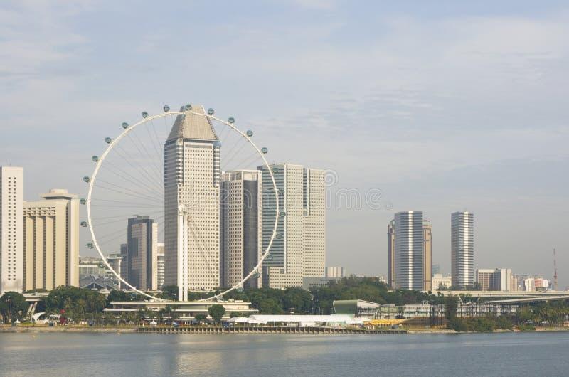 Singapur-Flugblatt und Skyline lizenzfreies stockbild