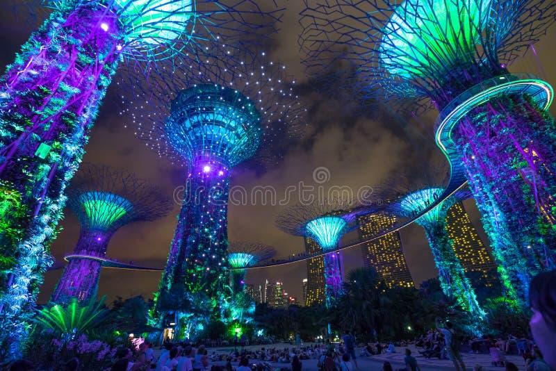 Singapur-Gärten durch die Bucht stockbild