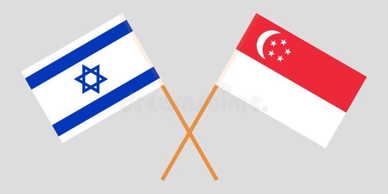 Singapur i Izrael Singapurczyka i izraelity flagi Oficjalni kolory Poprawna proporcja wektor royalty ilustracja
