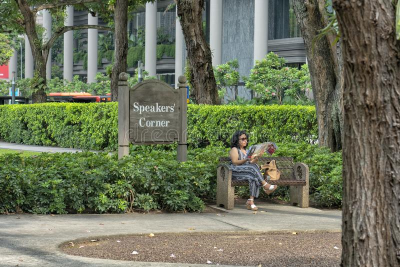 Singapur - 10. Juni 2018: Hong Lim Park mit Sprecher-Ecke 7 lizenzfreie stockfotos