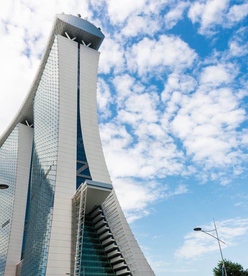 SINGAPUR - 18. JUNI 2014: Marina Bay Sands Das ikonenhafte Design h lizenzfreies stockbild