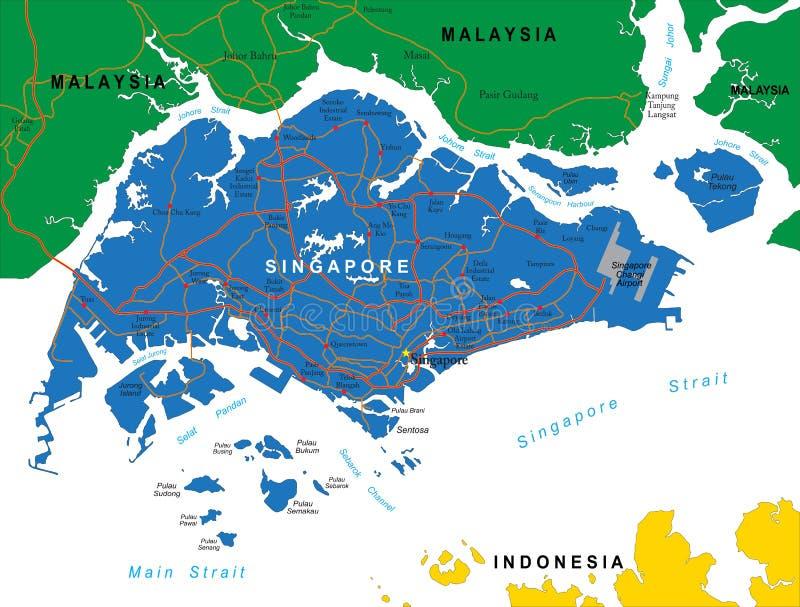 Singapur-Karte stock abbildung