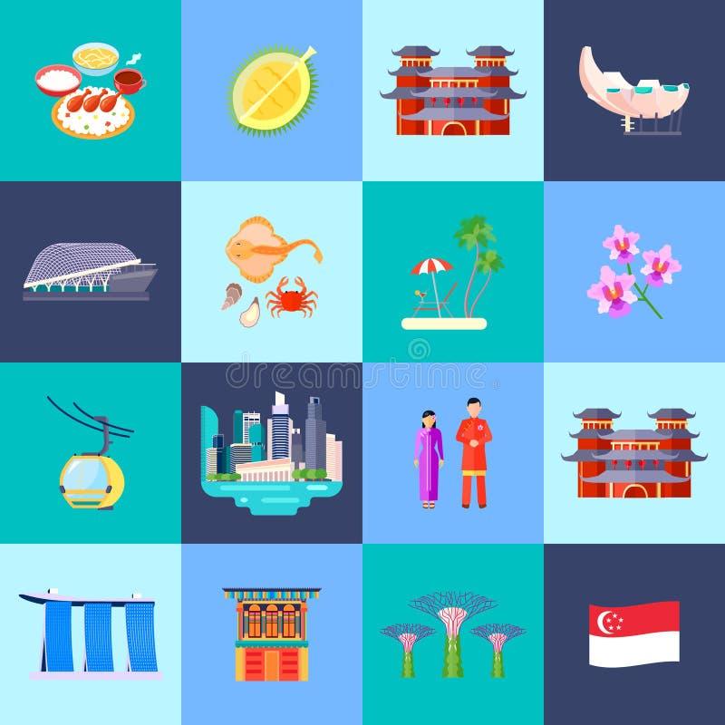 Singapur kultury ikony Płaski set ilustracji