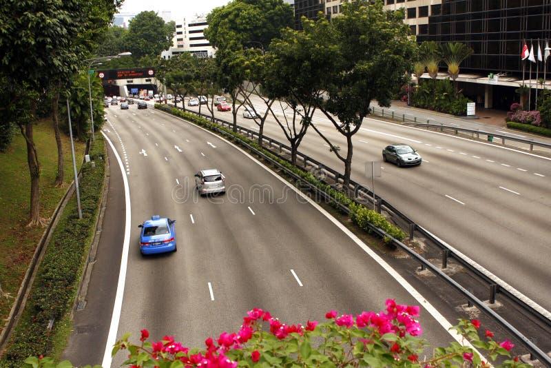 Singapur-Landstraße stockbilder