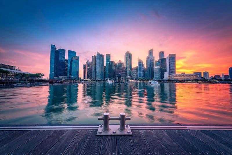 Singapur linia horyzontu i widok dzielnicy biznesu śródmieście na Mari zdjęcie royalty free
