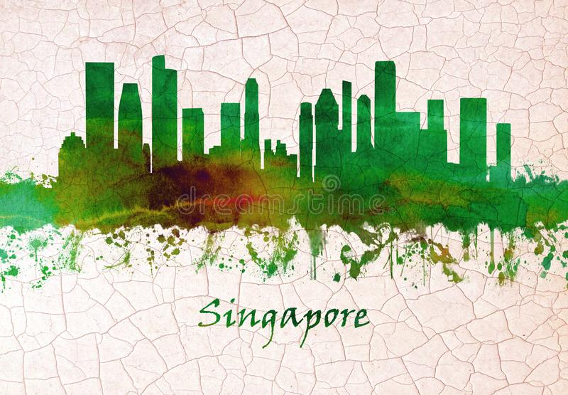 Singapur linia horyzontu rÄ™ka rysujÄ…ca ilustracji