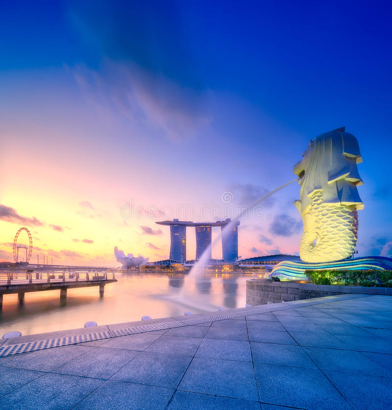 Singapur linii horyzontu tło fotografia stock