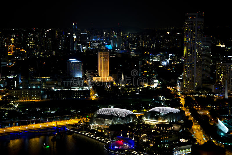 Singapur Marina Bay bei Nigth lizenzfreie stockbilder