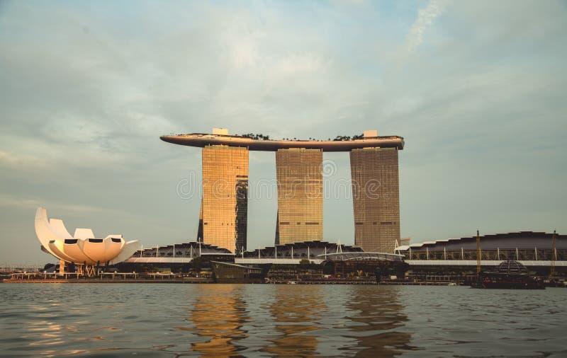 Singapur Marina Bay Sands bei Sonnenuntergang stockbild