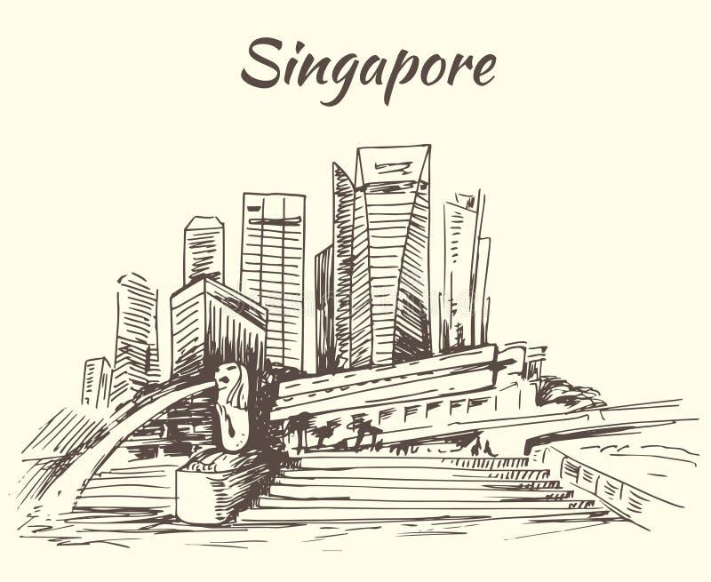 Singapur Marina Bay und Merlion stock abbildung