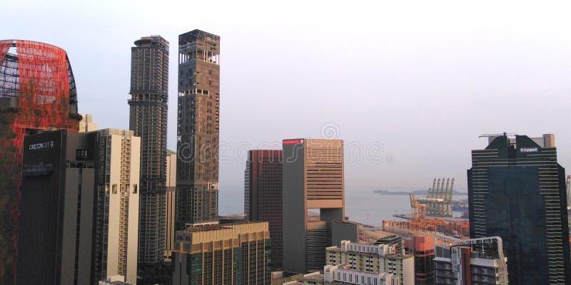 Singapur miasta zmierzchu niebo fotografia royalty free
