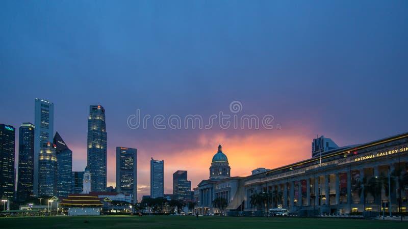 Singapur national gallery przy zmierzchem fotografia royalty free