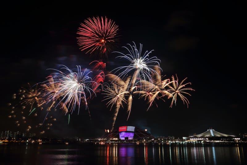 Singapur NDP fajerwerki 2016 1 obraz stock